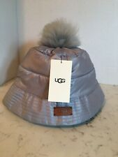 New Womens Ugg Bucket Hat Pom Water-resistant All Weather Silver Gray S/M