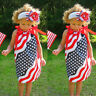 Baby Girls Infant Kid 4th Of July Star Dress Clothes Sundress Casual Sundress