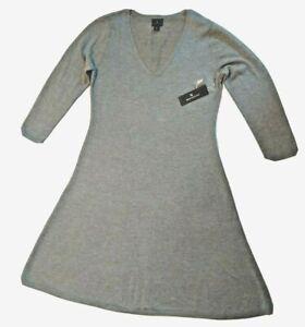 Worthington Gray Knit Dress  Size Medium  New Long Sleeve V neck