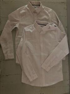 2 X Boys M&S White Sch Shirts 11-12