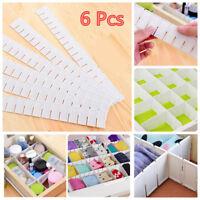 6 x Adjustable Drawer Clapboard Partition Divider Cabinet Storage Organizer WW