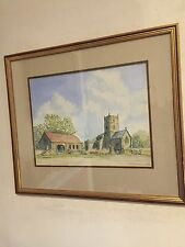 original watercolour painting Redwick Church Stocks Gwent Wales Signed Dated