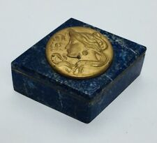 Antique Art Nouveau Brass Lady Profile & Blue Lapis Lazuli Box