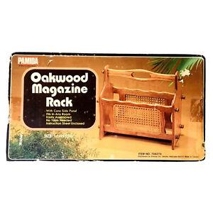 "Vintage Rattan Magazine Record Rack Woven Wicker Cane Wood Boho 16"" NEW"