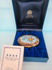 """Vintage New in Box Halcyon Days Enamels """"Exotic Birds"""" Trinket Box made England"""