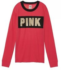 Pink By Victoria Secret Long Sleeve Ringer Tee Crewneck Logo Red Large Nwt