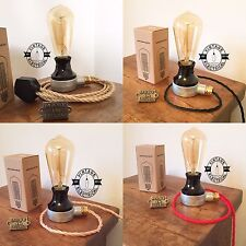 NEW INDUSTRIAL TABLE LIGHT DESK LAMP BEDSIDE VINTAGE TWIST CABLE + BULB