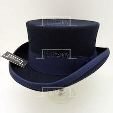 VINTAGE Wool Felt Men Top Hat Tuxedo Gentlemen Topper Short NEW | 59cm | Navy