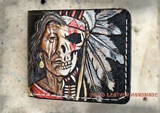 Leather wallet,Carved wallet,Native American wallet,Red Man,Nativ American skull