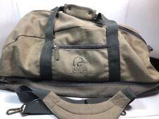 DUCKS UNLIMITED Canvas Overnight Gym Duffle Travel Bag Tote Tan Khaki Zip