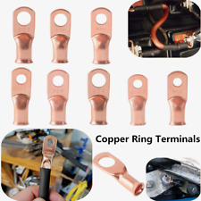 10-20PCS AWG Wire Bare Copper Lug Ring Terminals Battery Wire Welding Cable AWG