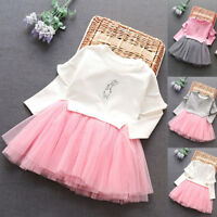 Kids Infant Baby Girl Long Sleeve Wedding Party Pageant Princess Tutu Dress