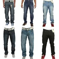Enzo Mens Big King Size Cargo Combat Casual Work Pants Straight Leg Denim Jeans