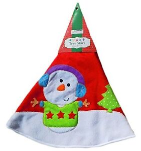 "Christmas Tree Skirt 31"" Felt Embroidered Design - Snowman"