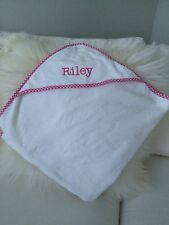 """Pottery Barn Kids Gingham Nursery Hooded Towel Embroidered """"Riley"""""""