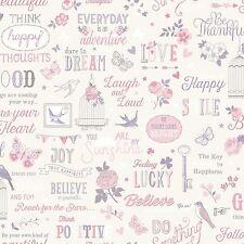 Rasch Inspirations Wallpaper - White & Pink 216707 Love