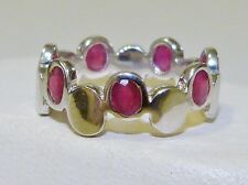 GENUINE 1.68tcw!  African Ruby Oval Cut Band Ring Solid Sterling Silver 925!
