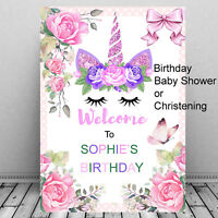 Personalised Unicorn Birthday Welcome Sign Baby Shower Christening Party Girls