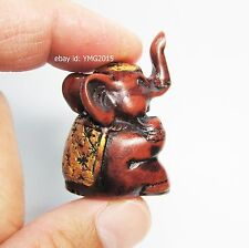 MINI SITTING THAI ELEPHANT Red-Brown Resin for Lucky Wealth Feng Shui Gift&Decor