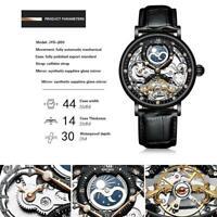 Herren Dual Time Leder Luxus Skelett Automatik Mechanische Uhr N9O3