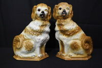 "Pair of Vintage Brown/White STAFFORDSHIRE DOGS 13"" Spaniel Figurines, GLASS EYES"
