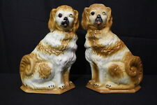 """Pair of Vintage Brown/White STAFFORDSHIRE DOGS 13"""" Spaniel Figurines, GLASS EYES"""