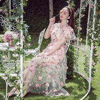 Vintage Mori Girl Sweet Lolita Flowers Fairy Embroidery Princess Dress Long Lace