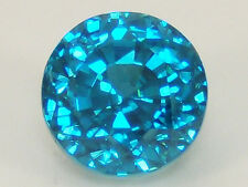 Natural Blue Zircon 6.31 ct. Round Bright Strong Blue Color, Very Lively Gem