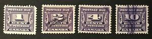 CANADA 1933-1934 #s J11-J14 -  POSTAGE DUE 3rd ISSUE- DARK VIOLET SET OF 4 USED