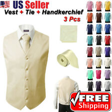3Pcs SET Men's Formal Vest Slim Tie Hankie Causal Fit Tuxedo Suit Waistcoat Coat