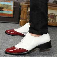 Mens Lace Up Wing Tip Patent Leather Oxfords Dress Formal Wedding Brogue Shoes