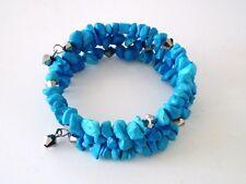 Plated Wrap Gb Handmade Usa New Bracelet Howlite Stone Turquoise Blue Silver