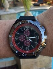 Mens Designer Silicone Jelly Rubber Geneva Black Large Face Watch Red Chrono