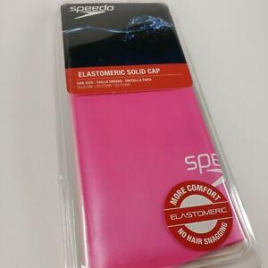 Speedo Elastomeric Solid Silicone Swim Cap, Adult One Size - Pink NIP NEW NIB