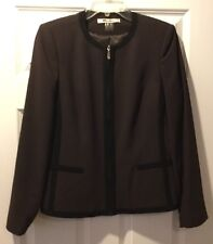 NWOT NYGARD Womens Brown Long Sleeve Career Blazer Lined Jacket Size 8