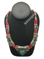 Ethnic Tribal Nepalese Green Turquoise & Red Coral Inlay Statement Necklace,E272