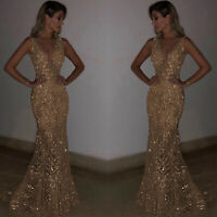 Womens Long Evening Dress Mermaid V Neck Gold Sequins Formal Party Wedding Prom