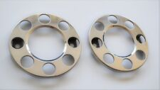 """2x 19.5"""" POLISHED STAINLESS STEEL OUTER WHEEL TRIM COVERS FOR MAN FORD IVECO DAF"""
