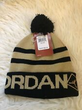 Nike Air Jordan Kidsyouth Unixes Black/Gold Knit Beanie Hat 8 / 20 New With Tags