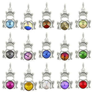 Sterling Silver Frog Pendants made with 1122 Rivoli 12mm Swarovski® Crystals