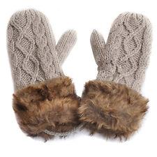 Ladies Wool Winter Snow Mittens Knitted Fleece Lined Fur Gloves-Gray LW