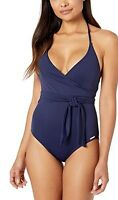 Vince Camuto Surf Shades V-Neck Wrap Tie One-Piece Deep Sea Women's Swimsuits 10