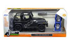 JADA 1992 JEEP WRANGLER W/EXTRA WHEELS MATT BLACK 1/24 DIECAST MODEL CAR 98020