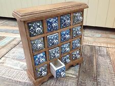 ❤️Mango Wood Unit 16 Blue Green Ceramic Trinket Drawer Hand Made Fair Trade