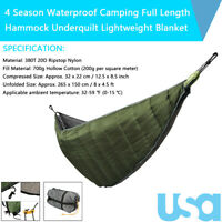 Length Hammock Underquilt Ultralight Camping Hiking Under Quilt Warm Blanket