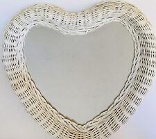 Vintage White Wicker Heart Mirror Shabby Chic Rattan Boho Romantic