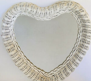 Vintage 90s Shabby Chic White Wicker Heart Shaped Wall Mirror Rattan Boho