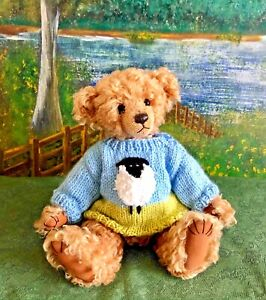 ++TEDDY CLOTHES++ new hand knitted *sheep* jumper to suit an 11 inch bear