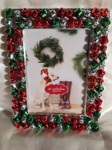 """St. Nicholas Square Jingle Bells Picture Photo Frame 5"""" x 7"""" Red Green Metal"""