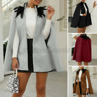 Womens Winter Jacket Coats Cape Poncho Feather Neck Outerwear Cardigan Plus Size